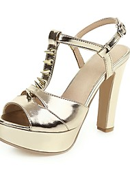 cheap -Women's Sandals Chunky Heel Open Toe Buckle PU Classic Spring & Summer Black / White / Dark Brown / Gold / Party & Evening
