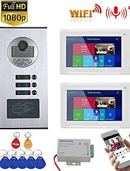cheap -7inch Record Wired Wifi Video Intercom 2 Apartments with 2 Family RFID Doorphone System IR-CUT HD 1080P Doorbell Camera