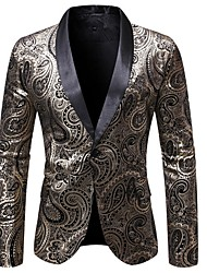 cheap -Men's Blazer Shawl Lapel Polyester Black / Wine / Navy Blue