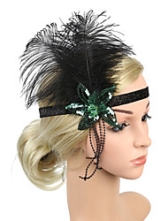 cheap -Retro Traditional / Classic Stretch Stripes / Fabrics Headpiece with Feather / Pendant / Ribbons 1 / box Wedding / Carnival Headpiece