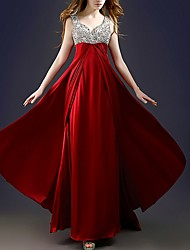 cheap -A-Line V Neck Floor Length Polyester Elegant Formal Evening / Wedding Guest Dress with Sequin / Draping / Tier 2020