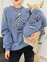cheap -Dog Cat Costume Sweatshirt Matching Outfits Winter Dog Clothes Warm Orange Green Blue Costume Bulldog Bichon Frise Schnauzer Fleece Quotes & Sayings Character Casual / Sporty Cute Women M S M L XL XXL