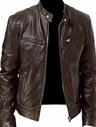 cheap -Men's Daily Fall & Winter Regular Leather Jacket, Solid Colored Stand Long Sleeve Polyester Black / Brown / Khaki