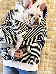 cheap -Dog Hoodie Matching Outfits Dog Clothes Breathable Black Beige Costume Bulldog Bichon Frise Poodle Cotton Striped Stripes Casual / Sporty Women M XS S M L XL