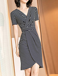 cheap -Women's Elegant Sheath Dress - Striped Black S M L XL
