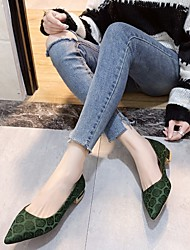 cheap -Women's Flats Flat Heel Pointed Toe Satin Flower Satin Business / Vintage Spring &  Fall / Spring & Summer Black / Green / Red / Party & Evening