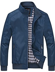 cheap -Men's Daily Fall & Winter Regular Jacket, Solid Colored Stand Long Sleeve Polyester Black / Blue / Royal Blue