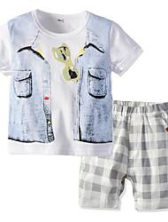 cheap -Kids Boys' Basic Christmas Home Print Cartoon Print Short Sleeve Regular Regular Clothing Set White