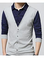 cheap -Men's Daily Work Shirt - Color Block Black