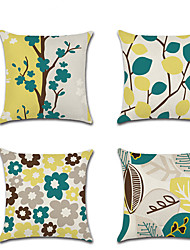 cheap -Set of 4 Linen Pillow Cover Rustic Holiday Botanical Floral Romantic Spring Throw Pillow 45*45 cm