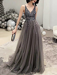cheap -A-Line Elegant Holiday Formal Evening Dress V Neck Sleeveless Sweep / Brush Train Polyester with Crystals 2020