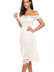 cheap -Women's Swing Dress - Solid Colored Black Blushing Pink S M L XL