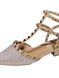 Недорогие -Жен. Обувь на каблуках На плоской подошве Заостренный носок Полиуретан Наступила зима Телесный / Золотой