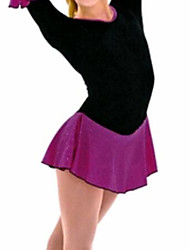 cheap -Figure Skating Dress Women's Girls' Ice Skating Dress Black Patchwork Spandex High Elasticity Training Competition Skating Wear Patchwork Half Sleeve Ice Skating Figure Skating