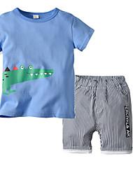 cheap -Kids Boys' Basic Christmas Home Print Cartoon Print Short Sleeve Regular Regular Clothing Set Light Blue