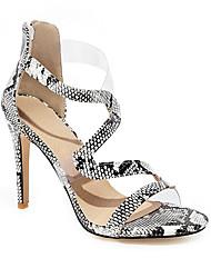 cheap -Women's Sandals Print Shoes Stiletto Heel Round Toe PU Casual Summer Gold / Black / Silver