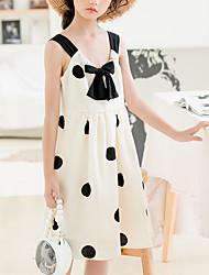 cheap -Kids Girls' Cute Sophisticated Polka Dot Bow Sleeveless Knee-length Dress White