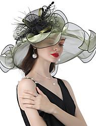 cheap -Headwear Organza / Feathers / Poly / Cotton Blend Hats with Cascading Ruffles / Flower 1 Piece Wedding / Outdoor Headpiece