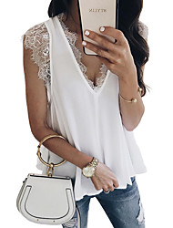 cheap -Women's Daily Basic Tank Top - Solid Colored Lace Black