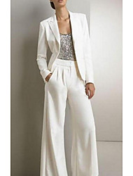 cheap -Pantsuit / Jumpsuit Jewel Neck Floor Length Polyester Long Sleeve Elegant Mother of the Bride Dress with Ruching 2020