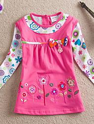Недорогие -малыш Девочки Уличный стиль Цветочный принт Длинный рукав Футболка Пурпурный