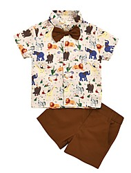 cheap -Kids Boys' Basic Print Short Sleeve Clothing Set Brown