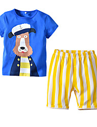 cheap -Kids Boys' Basic Christmas Home Print Cartoon Print Short Sleeve Regular Regular Clothing Set Blue