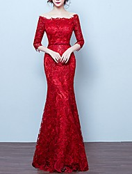 cheap -Mermaid / Trumpet Elegant Engagement Formal Evening Dress Off Shoulder 3/4 Length Sleeve Floor Length Polyester with Appliques 2020