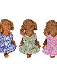 cheap -Dog Cat Dress Plaid / Check Bowknot Leisure Sweet Dog Clothes Blue Pink Green Costume Polyester Cotton XS S M L XL