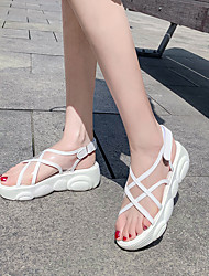 cheap -Women's Sandals Transparent Shoes Creepers Open Toe PU Casual / Preppy Spring & Summer White / Black / Color Block