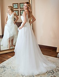 cheap -A-Line V Neck Sweep / Brush Train Lace Strapless Country Wedding Dresses with 2020