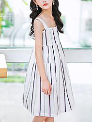 cheap -Kids Girls' Basic Street chic Striped Sleeveless Knee-length Dress White