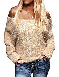 cheap -Women's Solid Colored Long Sleeve Pullover Sweater Jumper, Off Shoulder Black / Beige / Khaki S / M / L