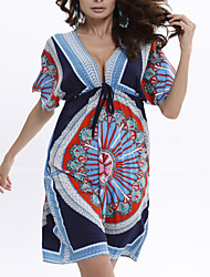 cheap -Women's / Ladies Holiday Trendy Batwing Sleeve Swing Dress - Printing Printing Blue One-Size