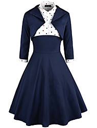 cheap -Audrey Hepburn Dresses Retro Vintage 1950s Wasp-Waisted Vacation Dress Dress A-Line Dress Tea Dress Rockabilly Women's Cotton Costume Ink Blue Vintage Cosplay Party Homecoming Daily Wear Long Sleeve
