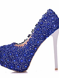 cheap -Women's Wedding Shoes Crystal Sandals Stiletto Heel Round Toe Lace Spring & Summer Blue