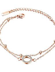 cheap -Women's Cubic Zirconia Chain Bracelet Classic Flower Stylish Titanium Steel Bracelet Jewelry Rose Gold / Silver For Gift Daily Wear