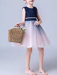 cheap -A-Line Above Knee Pageant Flower Girl Dresses - Cotton Sleeveless Jewel Neck with Pleats / Splicing