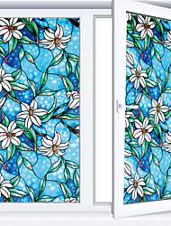 Недорогие -винилстатик цепляется за окна оттенок синей орхидеи уединение витражи декоративные оконные пленки терморегулятор тонировка окон / наклейки на окна / наклейки на двери