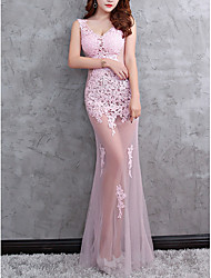 cheap -Mermaid / Trumpet Sexy Pink Party Wear Formal Evening Dress V Neck Sleeveless Floor Length Polyester with Appliques 2020