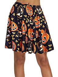 cheap -Women's Date / Street Basic / Street chic Swing Skirts - Geometric Print Black S M L