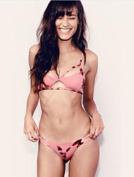 cheap -Women's Plus Size Basic Blushing Pink Triangle Cheeky Bikini Tankini Swimwear Swimsuit - Abstract Tribal Lace up Print S M L Blushing Pink