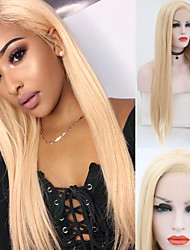 cheap -Synthetic Lace Front Wig Straight Side Part Lace Front Wig Long Light Blonde Synthetic Hair 18-26 inch Women's Soft Adjustable Party Blonde
