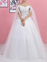 cheap -Ball Gown Wedding Dresses Off Shoulder Sweep / Brush Train Lace Tulle Regular Straps Formal with Lace Insert 2020
