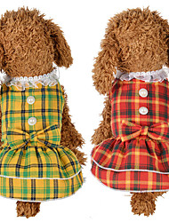 cheap -Dog Cat Dress Plaid / Check Bowknot Leisure Sweet Dog Clothes Yellow Red Costume Polyester Cotton XS S M L XL