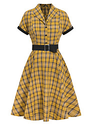 cheap -Female / Ladies Daily Wear Festival Swing Dress - Plaid Check Pattern Yellow S M L XL