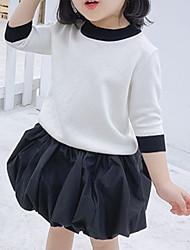 cheap -Kids Girls' Basic Color Block Long Sleeve Sweater & Cardigan White
