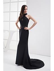 cheap -Mermaid / Trumpet Halter Neck Court Train Chiffon Elegant Formal Evening Dress with Beading 2020