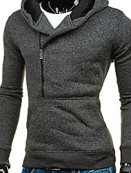 cheap -Men's Daily Regular Jacket, Solid Colored Hooded Long Sleeve Polyester Dark Gray / Light gray