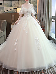 cheap -A-Line Wedding Dresses V Neck Floor Length Lace Tulle Sleeveless Casual Beach Plus Size with Lace Insert 2020